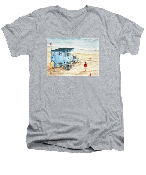 Santa Is On The Beach Men's V-Neck T-Shirt