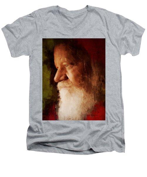 Santa Men's V-Neck T-Shirt by Lisa Noneman