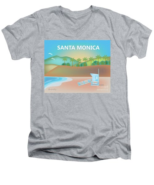 Santa Monica California Horizontal Scene Men's V-Neck T-Shirt