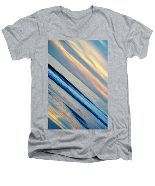 Men's V-Neck T-Shirt featuring the photograph Santa Monica Sunset by Kyle Hanson