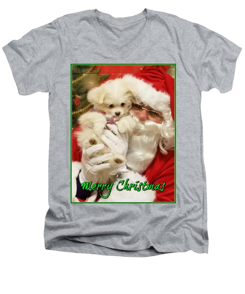 Santa Paws  Men's V-Neck T-Shirt by Darren Robinson