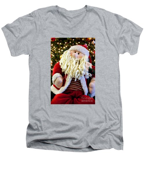 Men's V-Neck T-Shirt featuring the photograph Santa Takes A Seat by Vinnie Oakes