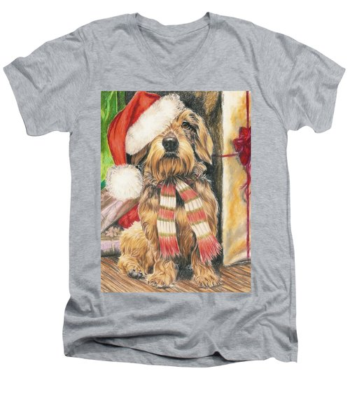 Men's V-Neck T-Shirt featuring the drawing Santas Little Yelper by Barbara Keith
