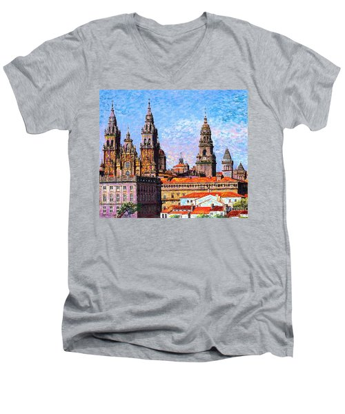 Men's V-Neck T-Shirt featuring the painting Santiago De Compostela, Cathedral, Spain by Jane Small