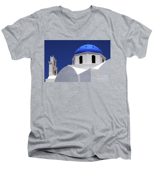 Men's V-Neck T-Shirt featuring the photograph Santorini Greece Architectual Line 2 by Bob Christopher
