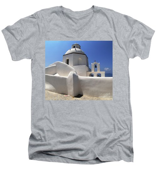 Men's V-Neck T-Shirt featuring the photograph Santorini Greece Architectual Line 4 by Bob Christopher