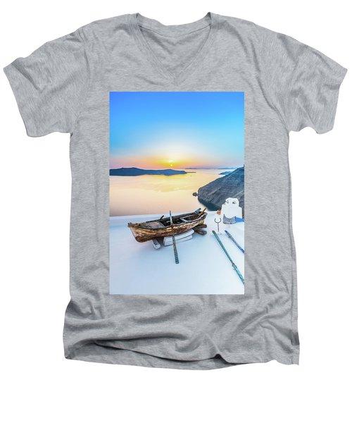 Santorini - Greece Men's V-Neck T-Shirt by Stavros Argyropoulos