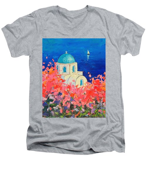 Santorini Impression - Full Bloom In Santorini Greece Men's V-Neck T-Shirt by Ana Maria Edulescu