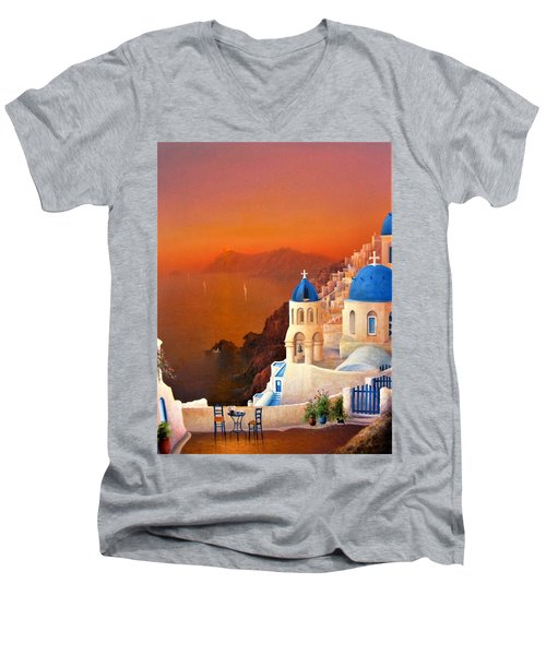 Santorini Sunset Men's V-Neck T-Shirt