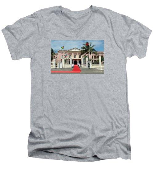 Sao Tome City Hall Men's V-Neck T-Shirt by John Potts