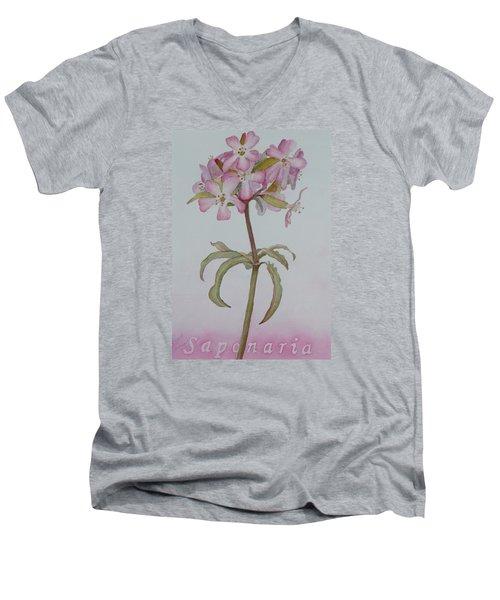 Saponaria Men's V-Neck T-Shirt by Ruth Kamenev