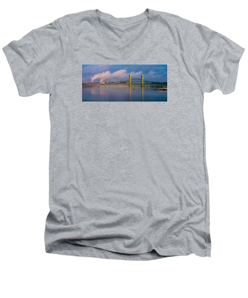 Sarah Long Bridge At Dawn Men's V-Neck T-Shirt