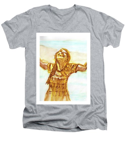 Sarah On The Beach Men's V-Neck T-Shirt