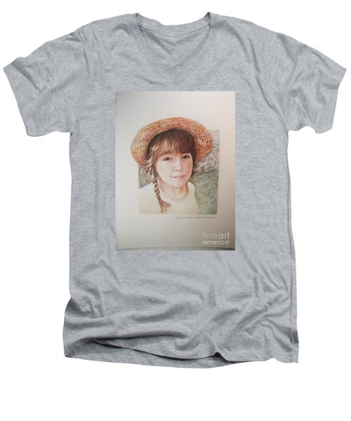 Men's V-Neck T-Shirt featuring the painting Sarah by Patricia Schneider Mitchell
