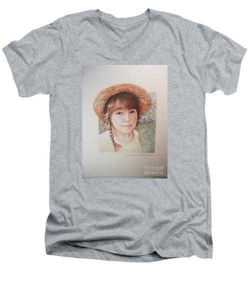Sarah Men's V-Neck T-Shirt by Patricia Schneider Mitchell
