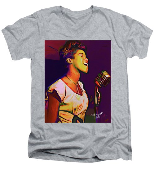 Sarah Vaughn Men's V-Neck T-Shirt by Ted Azriel