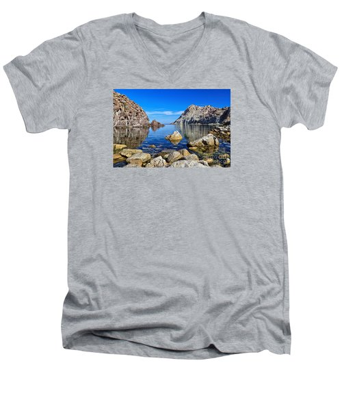 Sardinia - Calafico Bay  Men's V-Neck T-Shirt by Antonio Scarpi