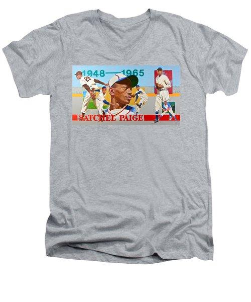 Satchel Paige Men's V-Neck T-Shirt by Cliff Spohn