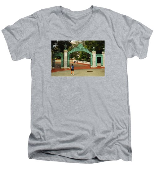Sather Gate Berkeley Men's V-Neck T-Shirt by James Kirkikis
