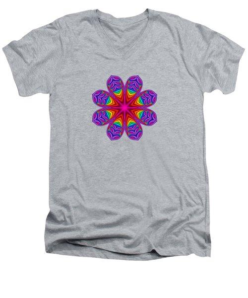 Satin Fractal Flower 3 Men's V-Neck T-Shirt