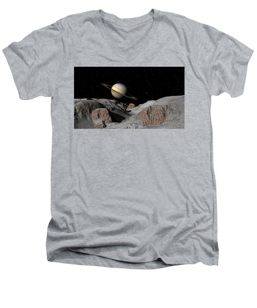 Saturn From The Moon Dione Men's V-Neck T-Shirt