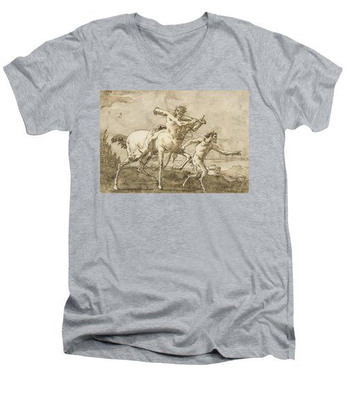 Satyr Leading A Centaur, Who Carries A Club, Bow And Quiver, Outside The Walls Of A City Men's V-Neck T-Shirt
