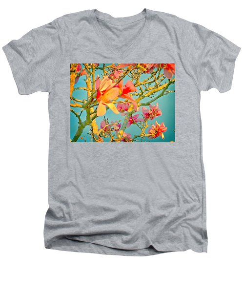 Men's V-Neck T-Shirt featuring the photograph Saucer Magnolia by Angela Annas