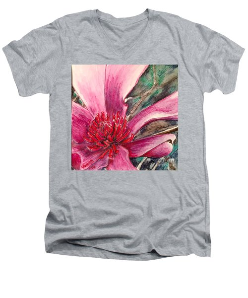 Men's V-Neck T-Shirt featuring the drawing Saucy Magnolia by Vonda Lawson-Rosa