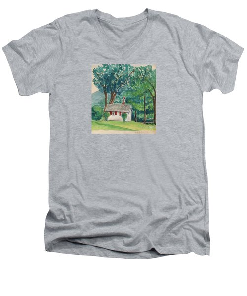 Sauna At Murray Hollow Men's V-Neck T-Shirt by Fred Jinkins