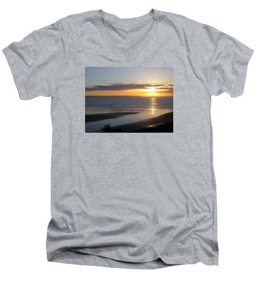Saunton Sands Sunset Men's V-Neck T-Shirt by Richard Brookes
