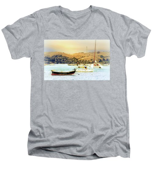 Sausalito Sailboats Men's V-Neck T-Shirt by Laura DAddona