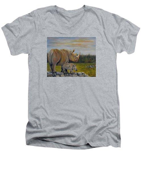 Savanna Overlook, Rhinoceros  Men's V-Neck T-Shirt