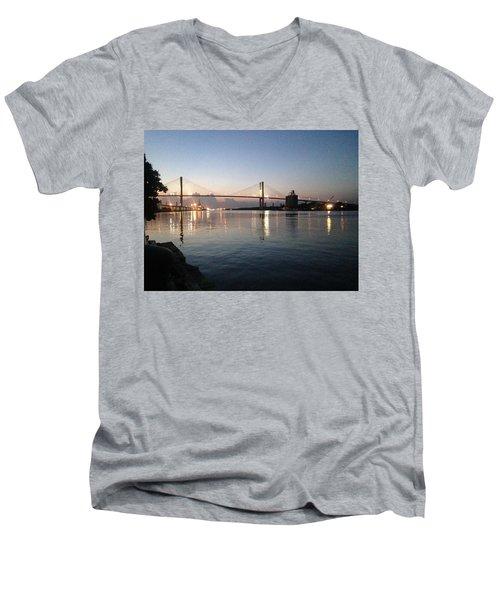 Savannah Bridge Evening  Men's V-Neck T-Shirt