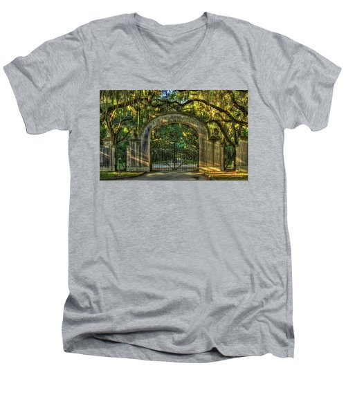 Men's V-Neck T-Shirt featuring the photograph Savannah's Wormsloe Plantation Gate Live Oak Alley Art by Reid Callaway