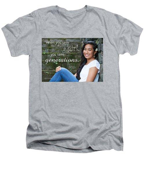 Save A Girl Men's V-Neck T-Shirt