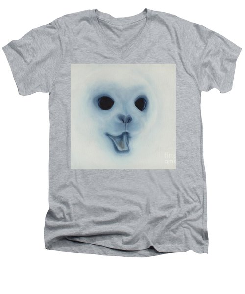 Men's V-Neck T-Shirt featuring the painting Save The Baby Seals by Annemeet Hasidi- van der Leij