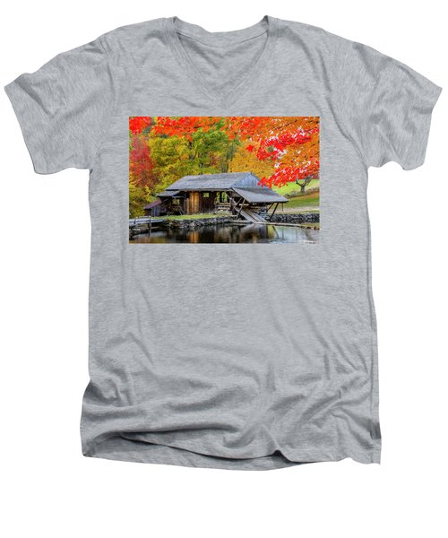 Sawmill Reflection, Autumn In New Hampshire Men's V-Neck T-Shirt by Betty Denise