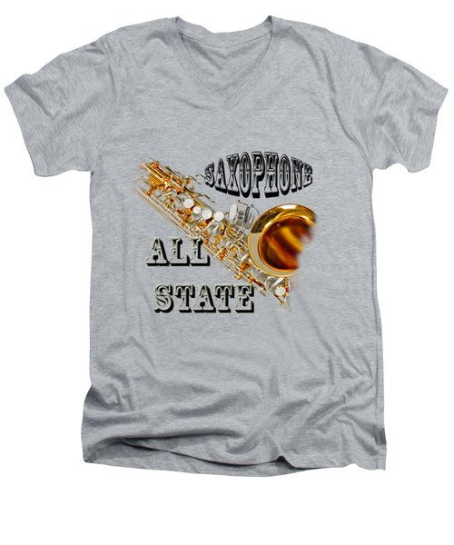 Saxophone All State Men's V-Neck T-Shirt by M K  Miller