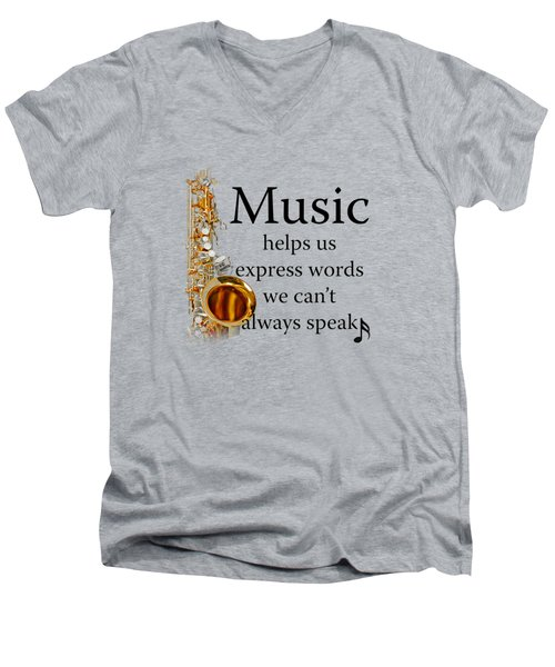 Saxophones Express Words Men's V-Neck T-Shirt by M K  Miller