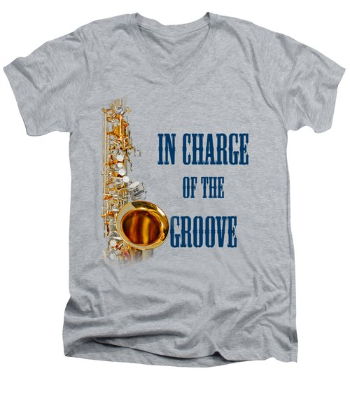 Saxophones In Charge Of The Groove 5532.02 Men's V-Neck T-Shirt by M K  Miller