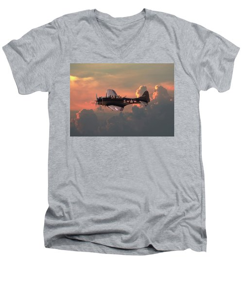 Men's V-Neck T-Shirt featuring the digital art  Sbd - Dauntless by Pat Speirs
