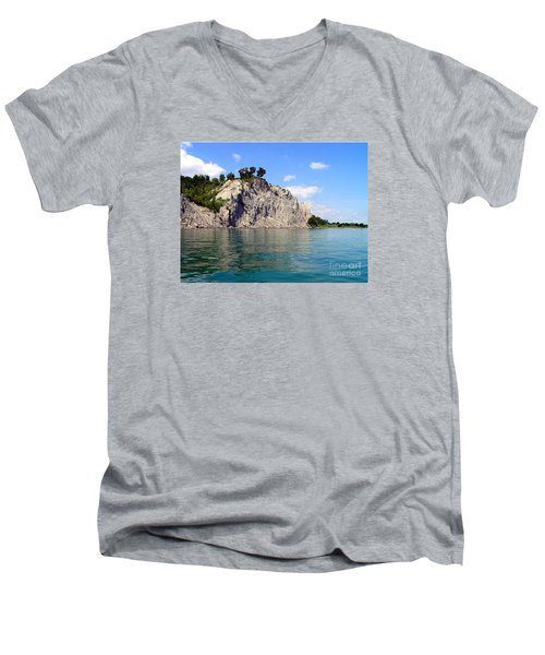 Men's V-Neck T-Shirt featuring the photograph Scarborough Bluffs-lake View by Susan  Dimitrakopoulos