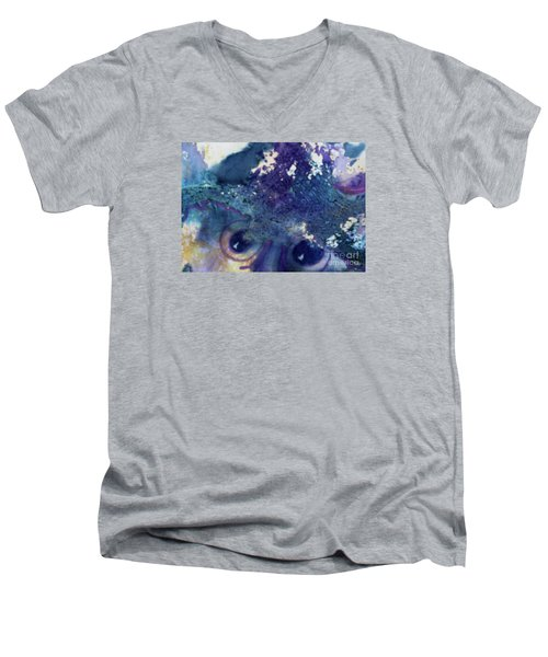 Men's V-Neck T-Shirt featuring the painting Scarecrow Eyes by Kathy Braud
