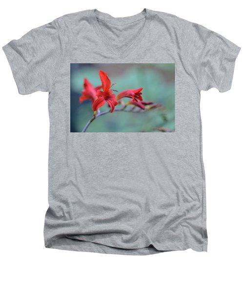 Scarlet Blooms Men's V-Neck T-Shirt by Janet Rockburn