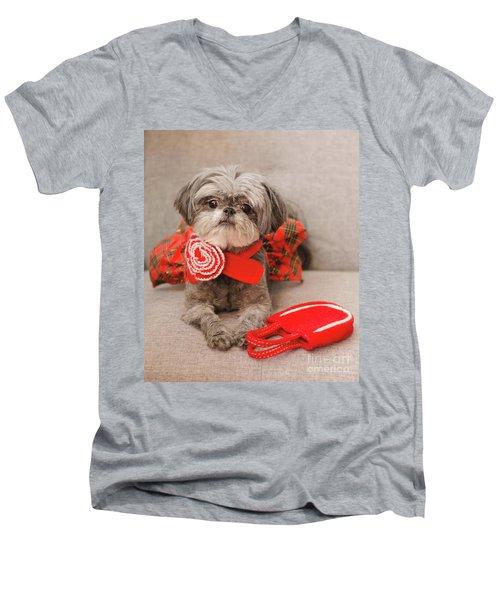 Scarlett And Red Purse Men's V-Neck T-Shirt
