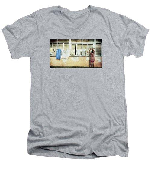 Scene Of Daily Life Men's V-Neck T-Shirt