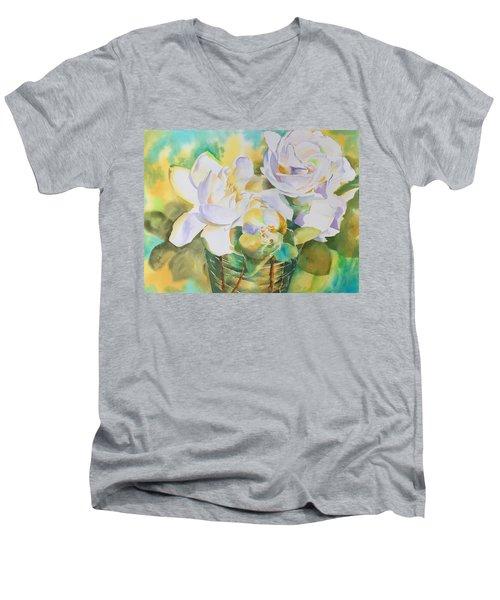 Scent Of Gardenias  Men's V-Neck T-Shirt by Tara Moorman