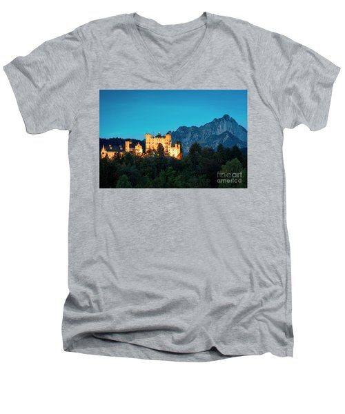 Men's V-Neck T-Shirt featuring the photograph Schloss Hohenschwangau by Brian Jannsen