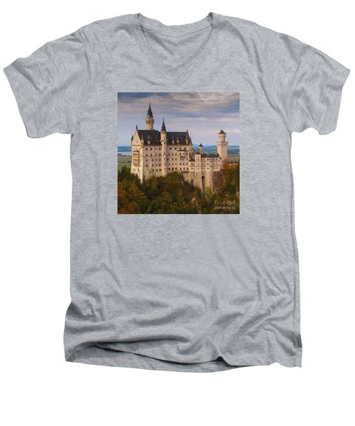 Men's V-Neck T-Shirt featuring the photograph Schloss Neuschwanstein by Franziskus Pfleghart