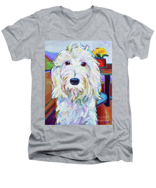 Men's V-Neck T-Shirt featuring the painting Schnoodle by Robert Phelps